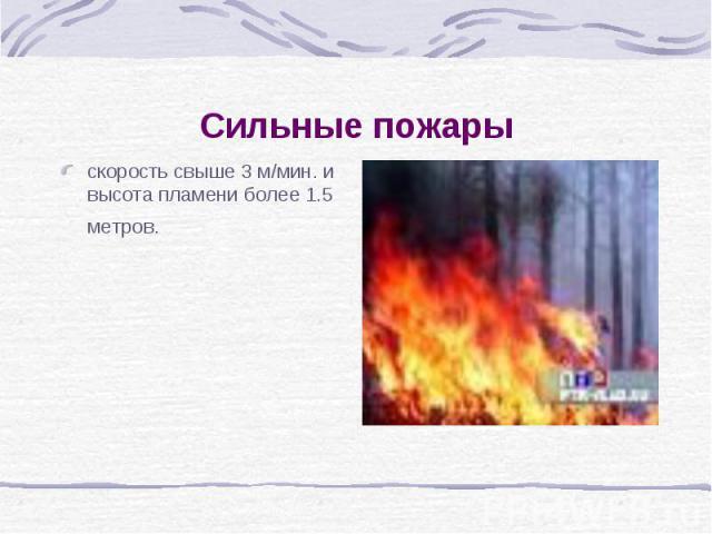 Сильные пожарыскорость свыше 3 м/мин. и высота пламени более 1.5 метров.
