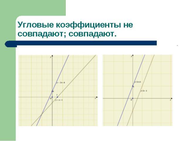 Угловые коэффициенты не совпадают; совпадают.