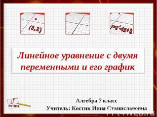 Линейное уравнение с двумя переменными и его график Алгебра 7 класс Учитель: Кос