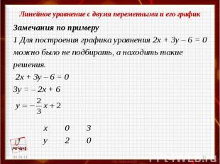Линейное уравнение с двумя переменными и его графикЗамечания по примеру1 Для пос