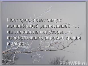 Поэт сравнивает зиму с волшебницей расписавшей «…на стеклах легкие узоры…», прео