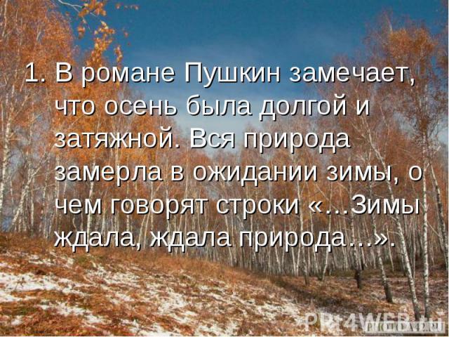 1. В романе Пушкин замечает, что осень была долгой и затяжной. Вся природа замерла в ожидании зимы, о чем говорят строки «…Зимы ждала, ждала природа…».