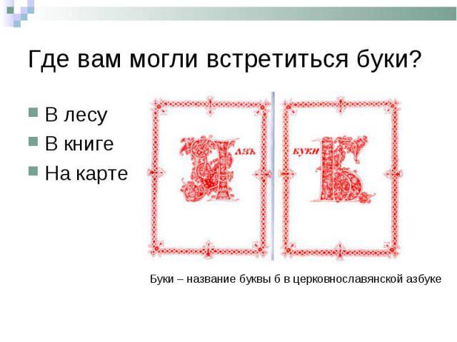 Где вам могли встретиться буки?В лесуВ книгеНа картеБуки – название буквы б в церковнославянской азбуке