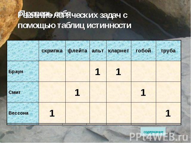 Решение логических задач с помощью таблиц истинности