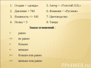 Осадки = «дождь»5. Автор = «Толстой Л.Н.»Давление > 7406. Фамилия = «Русанов»Вла