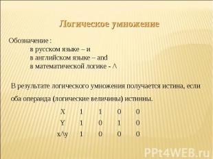 Логическое умножениеОбозначение :в русском языке – ив английском языке – andв ма