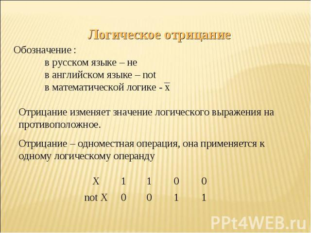 Логическое отрицаниеОбозначение :в русском языке – нев английском языке – notв математической логике - xОтрицание изменяет значение логического выражения на противоположное.Отрицание – одноместная операция, она применяется к одному логическому операнду