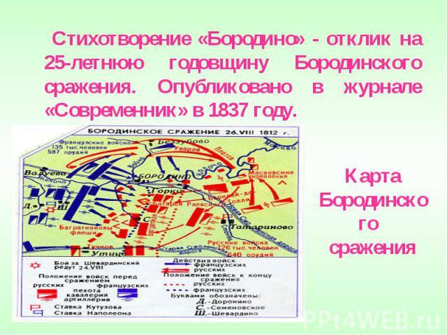 Стихотворение «Бородино» - отклик на 25-летнюю годовщину Бородинского сражения. Опубликовано в журнале «Современник» в 1837 году. Карта Бородинского сражения