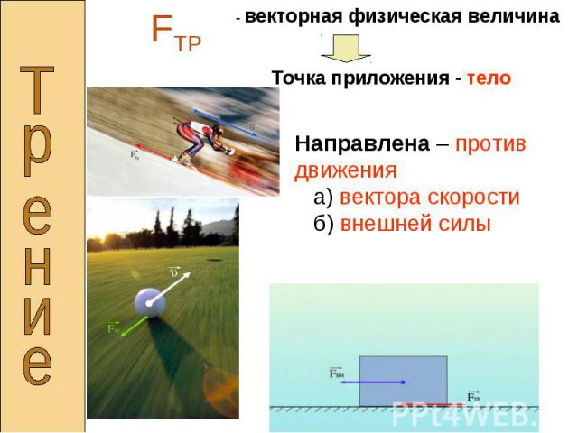 - векторная физическая величинаТочка приложения - телоНаправлена – против движения а) вектора скорости б) внешней силы