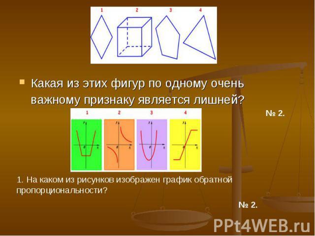 Какая из этих фигур по одному очень важному признаку является лишней? 1. На каком из рисунков изображен график обратной пропорциональности?