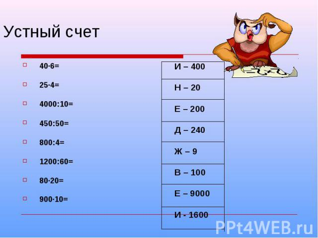 Устный счет40·6= 25·4= 4000:10=450:50=800:4=1200:60=80·20= 900·10=