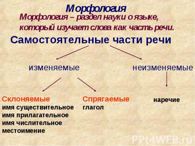 МорфологияМорфология – раздел науки о языке, который изучает слова как часть речи.Самостоятельные части речиСклоняемыеимя существительноеимя прилагательноеимя числительноеместоимениеСпрягаемыеглагол