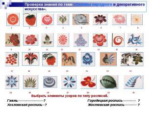 Проверка знания по теме «Основы народного и декоративногоискусства». Выбрать эле