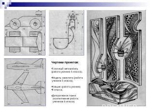 Чертежи проектов:Гоночный автомобиль(работа ученика 5 класса);Модель самолета (р
