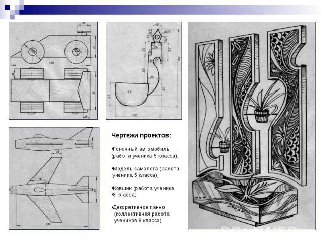 Чертежи проектов:Гоночный автомобиль(работа ученика 5 класса);Модель самолета (работа ученика 5 класса);Ковшик (работа ученика8 класса;Декоративное панно (коллективная работа учеников 8 класса)