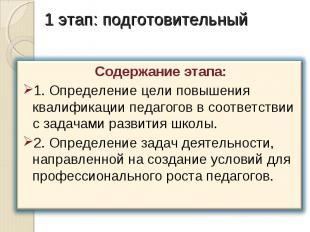1 этап: подготовительный Содержание этапа:1. Определение цели повышения квалифик