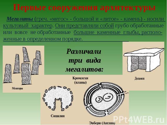 Первые сооружения архитектурыМегалиты (греч. «мегос» - большой и «литое» - камень) - носили культовый характер. Они представляли собой грубо обработанные или вовсе не обработанные большие каменные глыбы, располо-женные в определенном порядке. Различ…