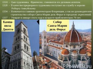 1318 - Сын художника, Франческо, становится его деловым агентом. - В качестве пр
