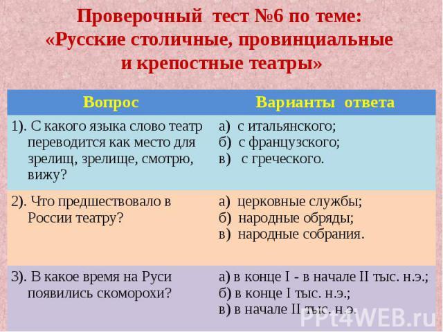 Проверочный тест №6 по теме: «Русские столичные, провинциальные и крепостные театры»