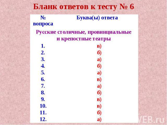 Бланк ответов к тесту № 6