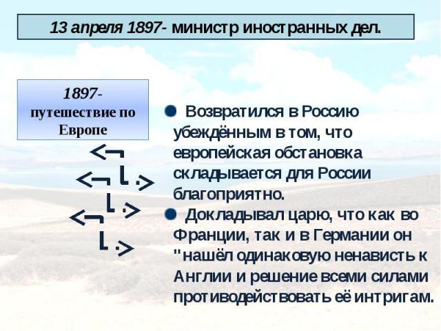 13 апреля 1897- министр иностранных дел.1897- путешествие по Европе Возвратился в Россию убеждённым в том, что европейская обстановка складывается для России благоприятно. Докладывал царю, что как во Франции, так и в Германии он
