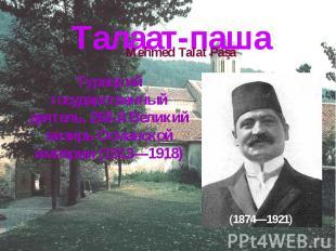 Талаат-пашаТурецкий государственный деятель, 268-й Великий визирь Османской импе