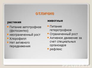отличиеПитание автотрофное (фотосинтез)неограниченный ростХлорофиллНет активного