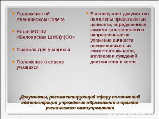 Положение об Ученическом СоветеУстав МОШИ «Белоярская ШИС(п)ОО»Правила для учащи