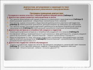 Диагностика, регулирование и коррекция по теме: «Моделирование ученического само