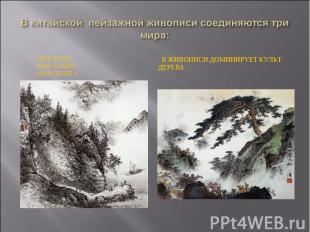 В китайской пейзажной живописи соединяются три мира:. Мир воды. Мир камня. Мир д