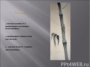 1-й этап. кистью колонок № 2 прописываем сочленения ветки бамбука;. прописываем