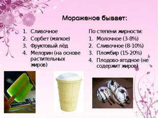 Мороженое бывает:СливочноеСорбет (мягкое)Фруктовый лёдМелорин (на основе растите