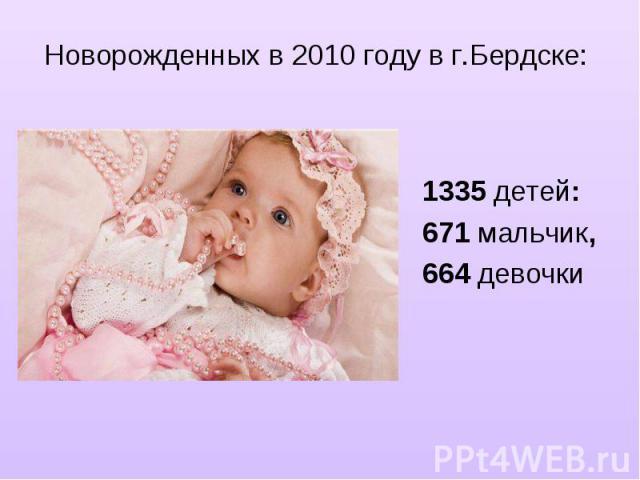 Новорожденных в 2010 году в г.Бердске:1335 детей: 671 мальчик, 664 девочки