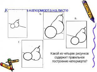 Компоновка натюрморта на листе Какой из четырех рисунков содержит правильное пос