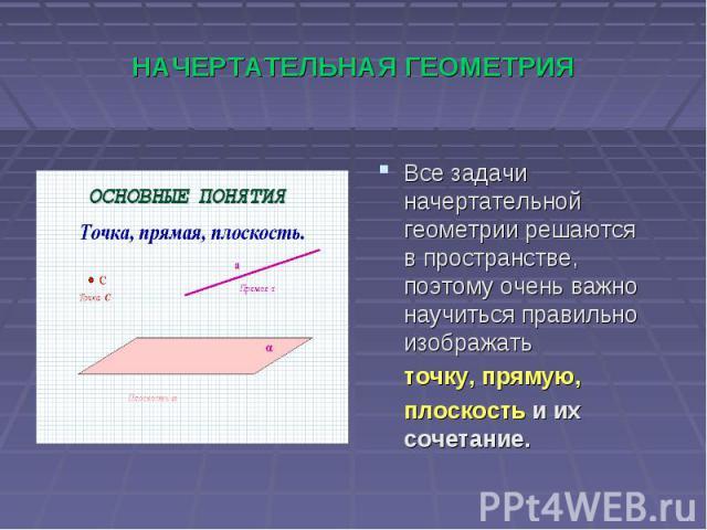 НАЧЕРТАТЕЛЬНАЯ ГЕОМЕТРИЯВсе задачи начертательной геометрии решаются в пространстве, поэтому очень важно научиться правильно изображать точку, прямую, плоскость и их сочетание.