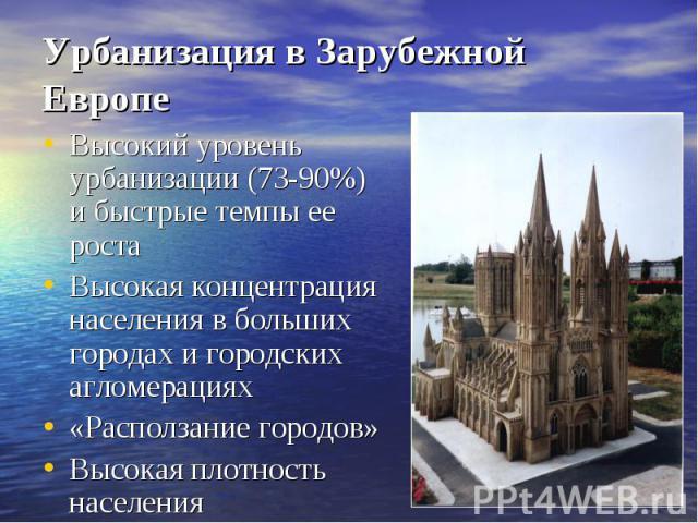 Урбанизация в Зарубежной ЕвропеВысокий уровень урбанизации (73-90%) и быстрые темпы ее ростаВысокая концентрация населения в больших городах и городских агломерациях«Расползание городов»Высокая плотность населения