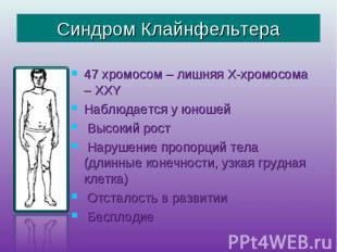 Синдром Клайнфельтера 47 хромосом – лишняя Х-хромосома – ХХY Наблюдается у юноше
