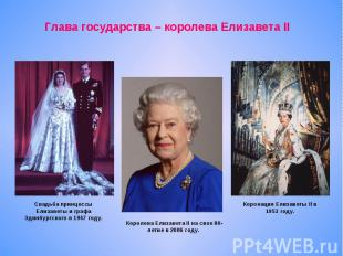 Глава государства – королева Елизавета IIСвадьба принцессы Елизаветы и графа Эди