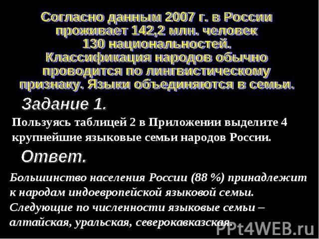 Согласно данным 2007 г. в Россиипроживает 142,2 млн. человек130 национальностей. Классификация народов обычнопроводится по лингвистическомупризнаку. Языки объединяются в семьи.Пользуясь таблицей 2 в Приложении выделите 4 крупнейшие языковые семьи на…