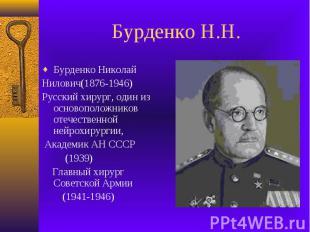 Бурденко Н.Н.Бурденко Николай Нилович(1876-1946)Русский хирург, один из основопо