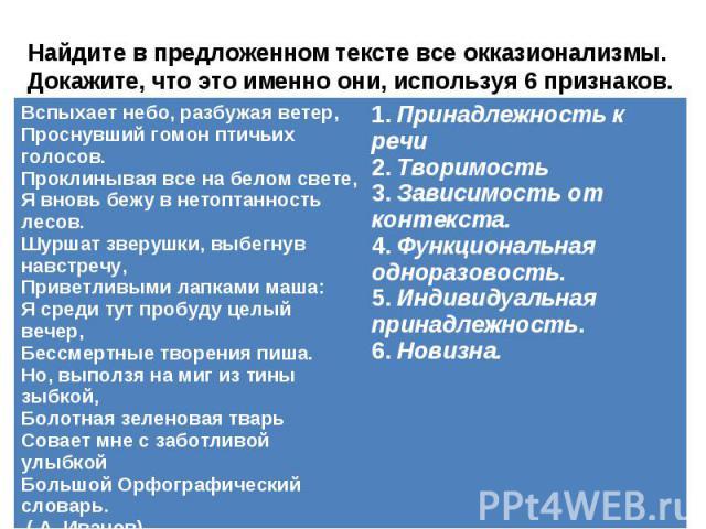 Найдите в предложенном тексте все окказионализмы. Докажите, что это именно они, используя 6 признаков.
