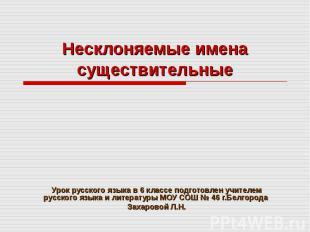 Несклоняемые имена существительные Урок русского языка в 6 классе подготовлен уч