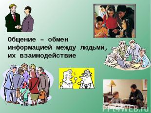 Общение – обмен информацией между людьми, их взаимодействие
