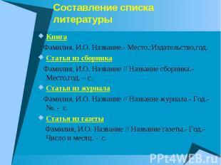 Cоставление списка литературыКнига Фамилия, И.О. Название.- Место.:Издательство,