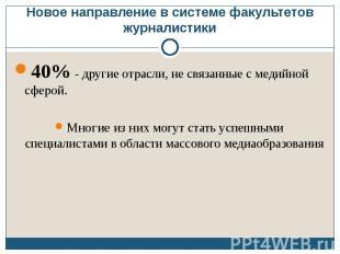 Новое направление в системе факультетов журналистики 40% - другие отрасли, не св
