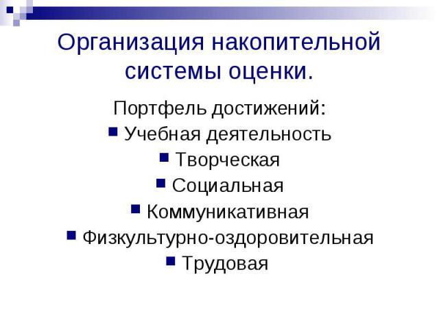 Организация накопительной системы оценки. Портфель достижений:Учебная деятельностьТворческаяСоциальнаяКоммуникативнаяФизкультурно-оздоровительнаяТрудовая