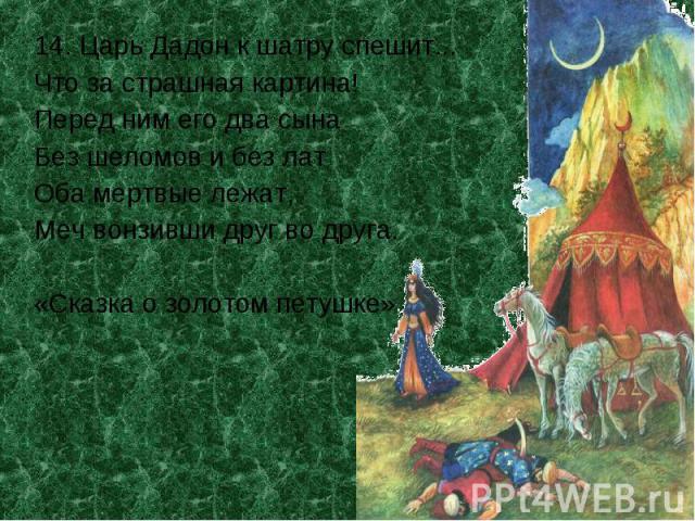 14. Царь Дадон к шатру спешит...Что за страшная картина!Перед ним его два сынаБез шеломов и без латОба мертвые лежат,Меч вонзивши друг во друга.«Сказка о золотом петушке»