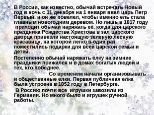 В России, как известно, обычай встречать Новый год в ночь с 31 декабря на 1 янва