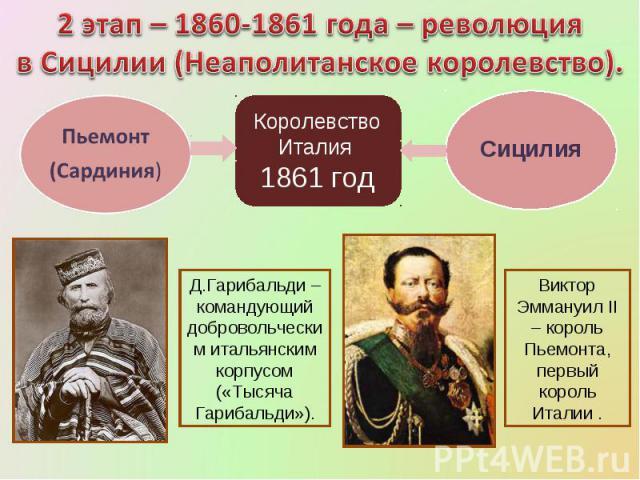 2 этап – 1860-1861 года – революция в Сицилии (Неаполитанское королевство).Д.Гарибальди – командующий добровольческим итальянским корпусом («Тысяча Гарибальди»).Виктор Эммануил II – король Пьемонта, первый король Италии .