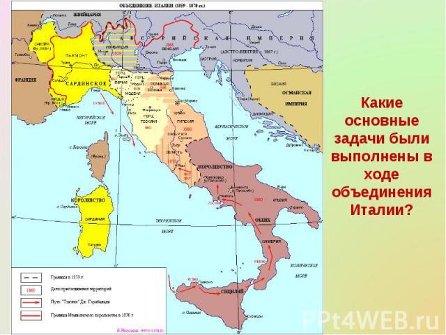Какие основные задачи были выполнены в ходе объединения Италии?